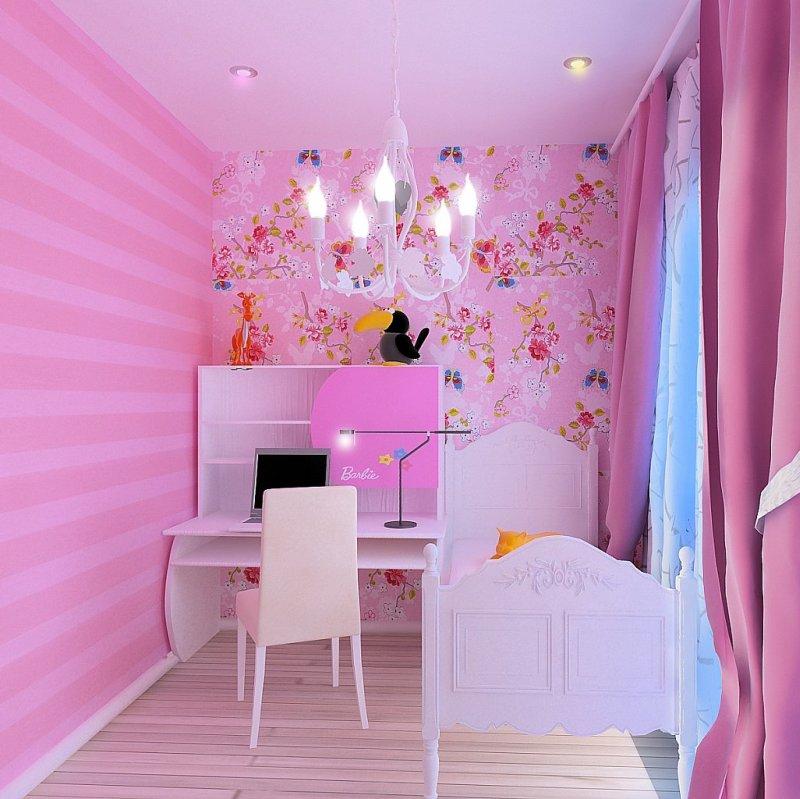 Дизайн детской комнаты розовый фото