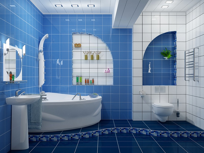 ванной комнаты в синих и голубых тонах