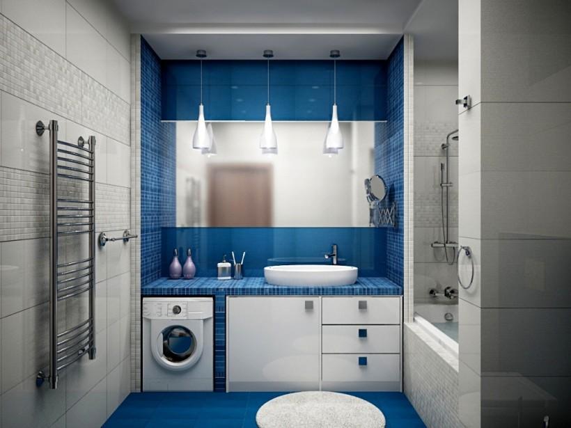 Фото дизайн ванны в синей гамме