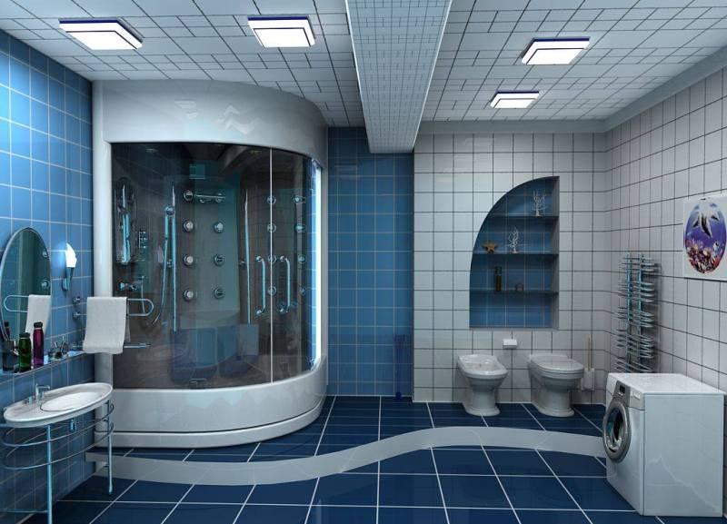 Плавные линии в ванной для большой ...: 12millionov.com/dizajn-vannoj-komnaty-v-sinix-i-golubyx-tonax.html