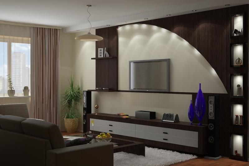 Стена под телевизор дизайн фото