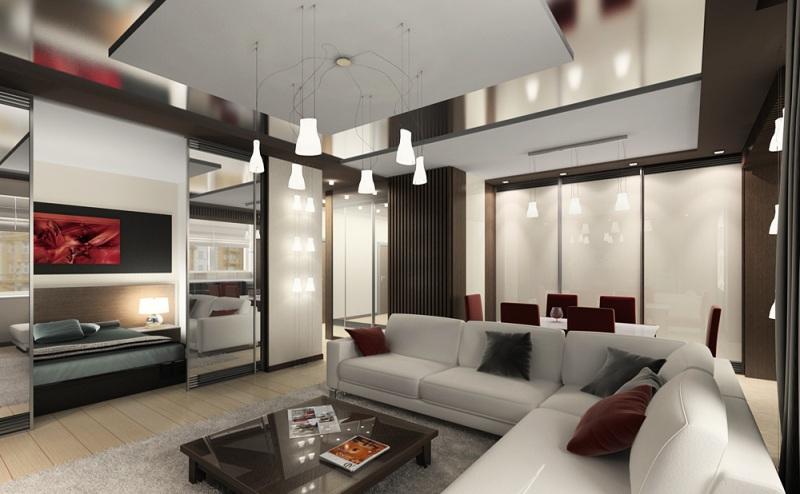 Интерьер дизайн гостиной с обоями светлыми