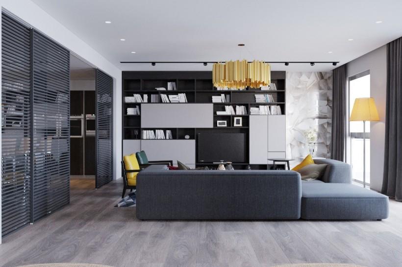 Дизайн квартиры с серым ламинатом фото