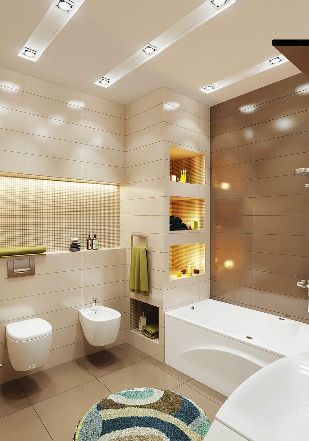Дизайн ванной комнаты коричнево бежевых тонах