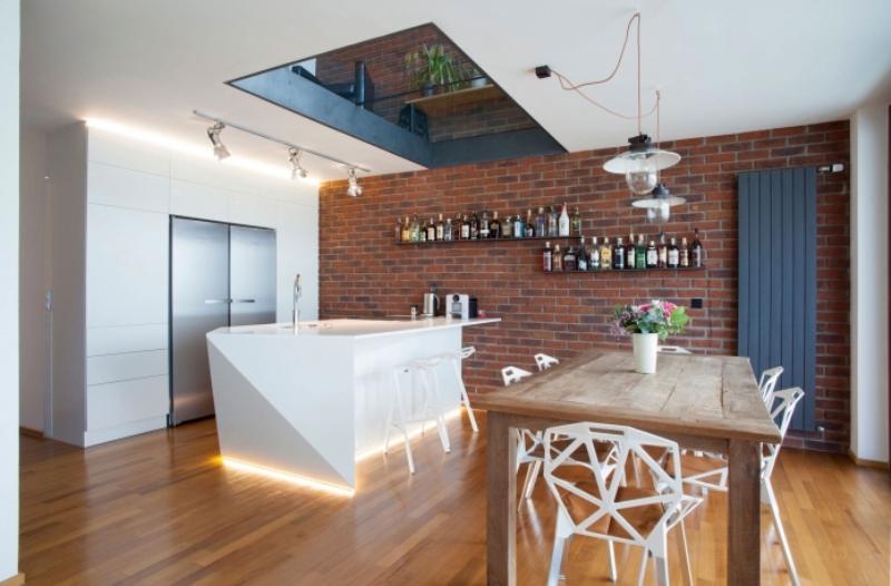 Кирпичная стена в интерьере кухни - Фото Дизайн интерьера