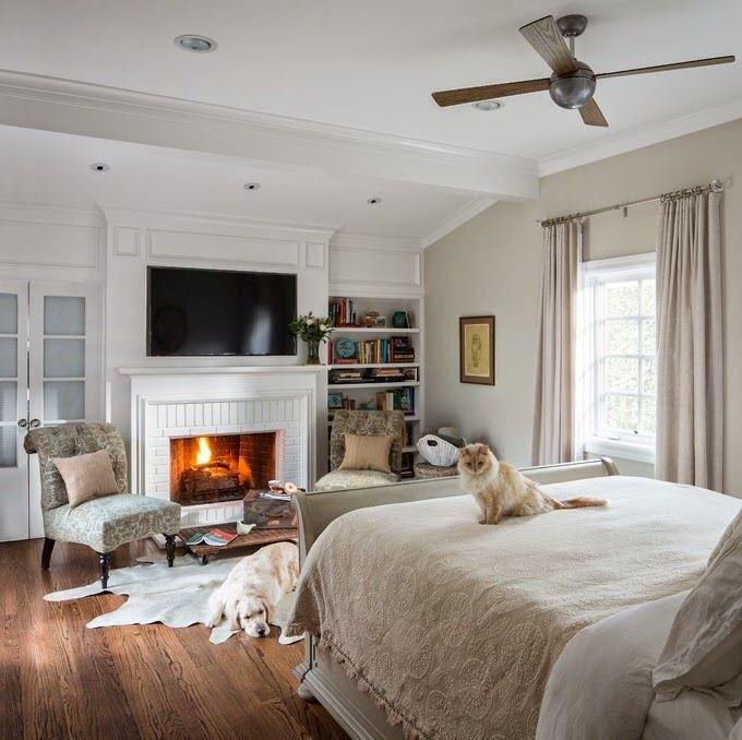 Спальня с камином дизайн фото