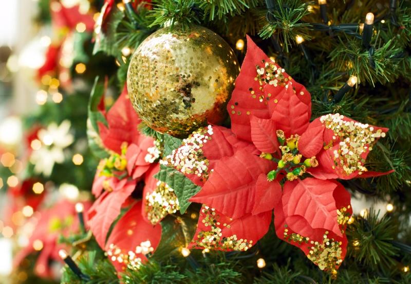 Новогодние цветы на елку своими руками