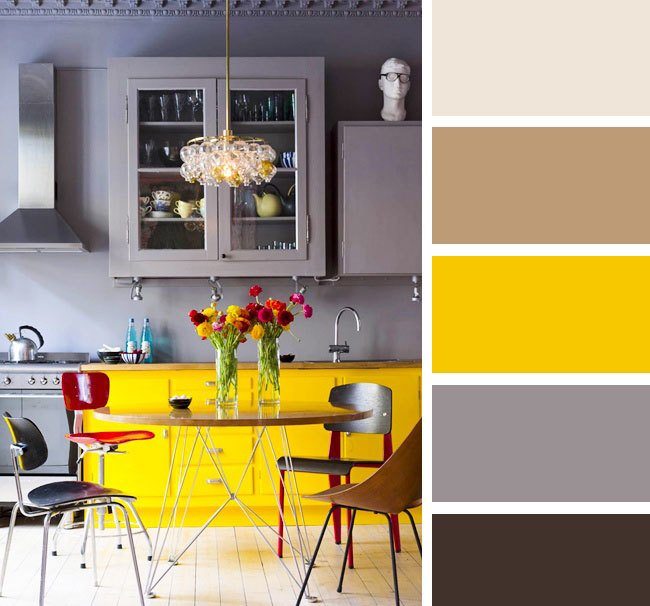 Сочетание бежевого и серого в интерьере кухни
