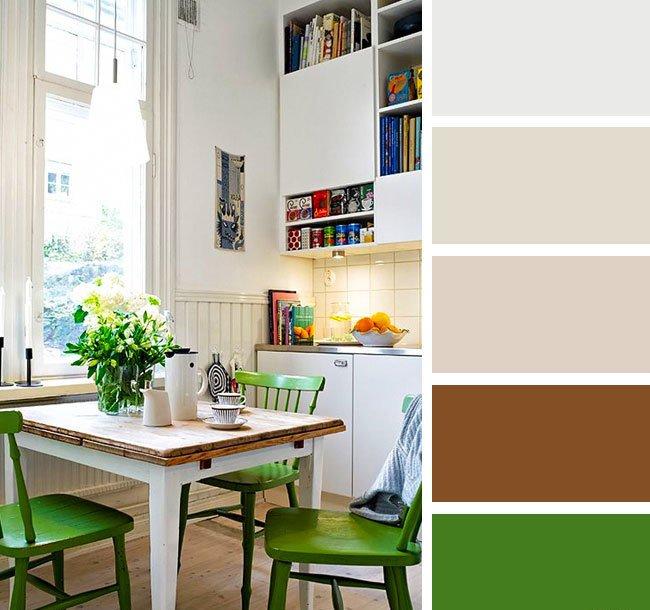 Сочетание цветов в интерьере на кухне бежевый