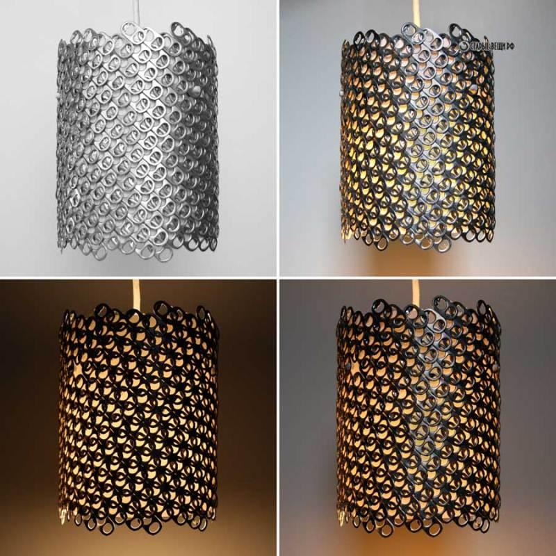 полиэстер: светильник из язычков от банок вид