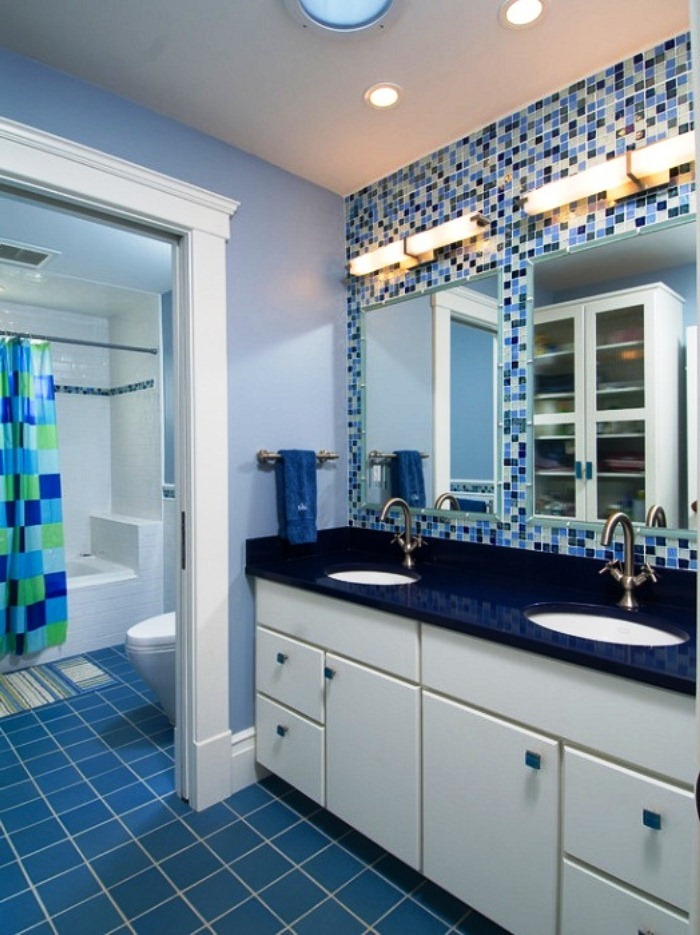 Navy blue floor tiles
