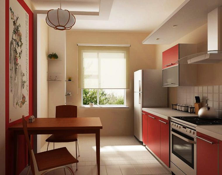 Дизайн кухни прямоугольной формы с диваном