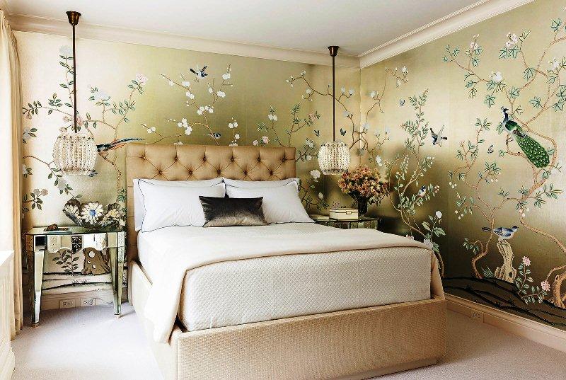 дизайн обои для спальни фото