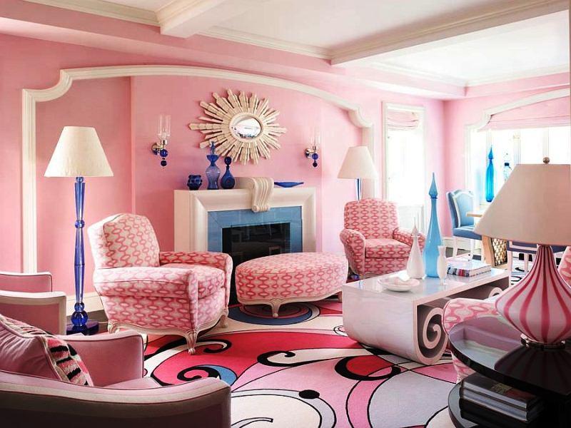 Дизайн гостиной в розовых тонах