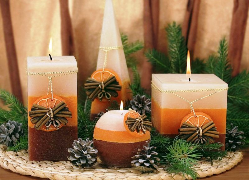 Изготовление новогодних свечей своими руками
