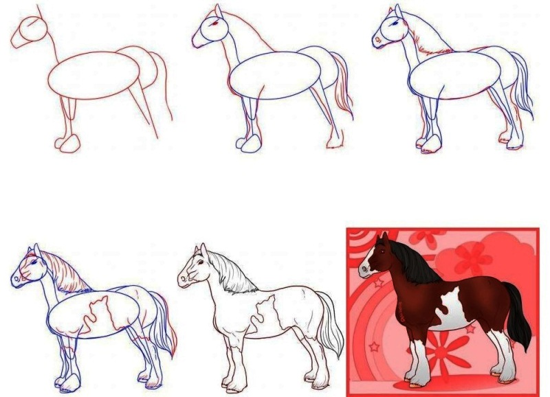 Как нарисовать лошадку карандашом ребенку