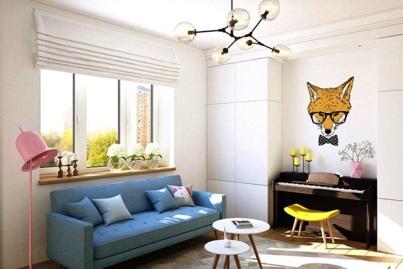 Дизайн однокомнатных квартиры для молодой девушки