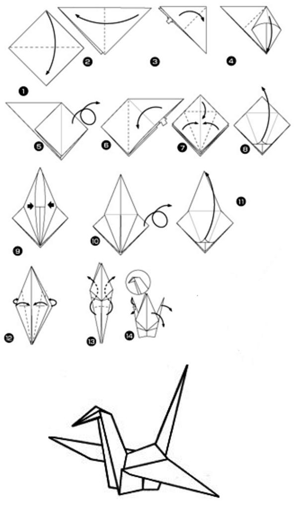 Оригами из бумаги: птица. Описание и схемы для изготовления.