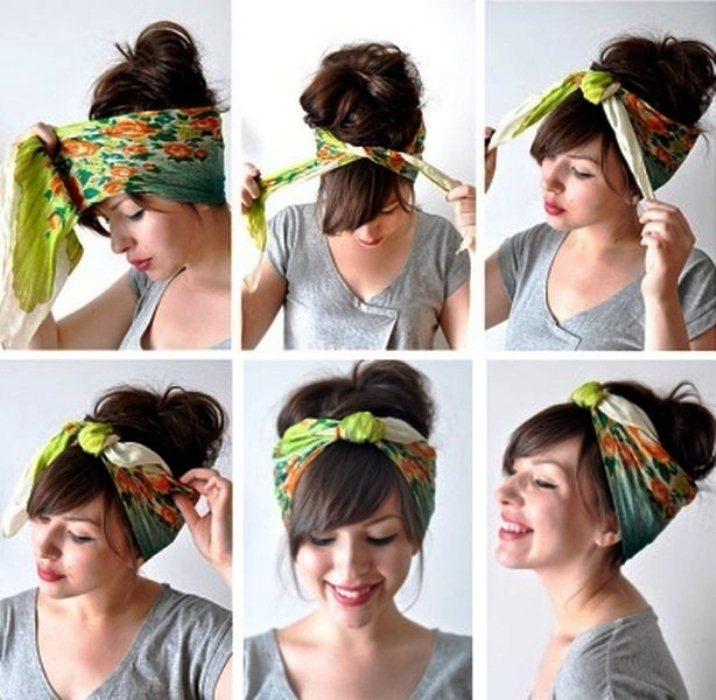 Повязка на голову как носить с чёлкой