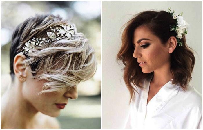 Свадебная прическа на короткие волосы. фото