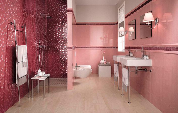 Дизай ванной комнаты в розовых пастельных тонах.