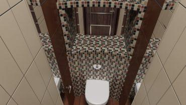 Мелкая плитка и зеркала по бокам в маленьком туалете визуально увеличиваю пространство.