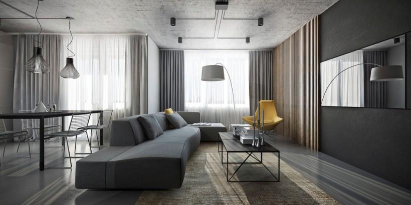 Интерьер квартиры в сером цвете Фото Дизайн интерьера