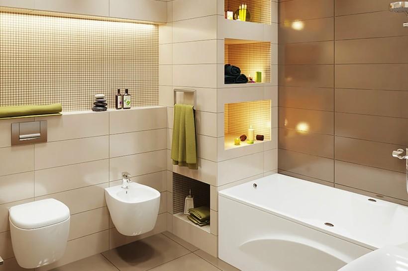 Дизайн ванной комнаты в бежево коричневых тонах Фото