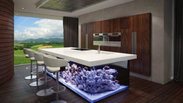 Кухня с аквариумом