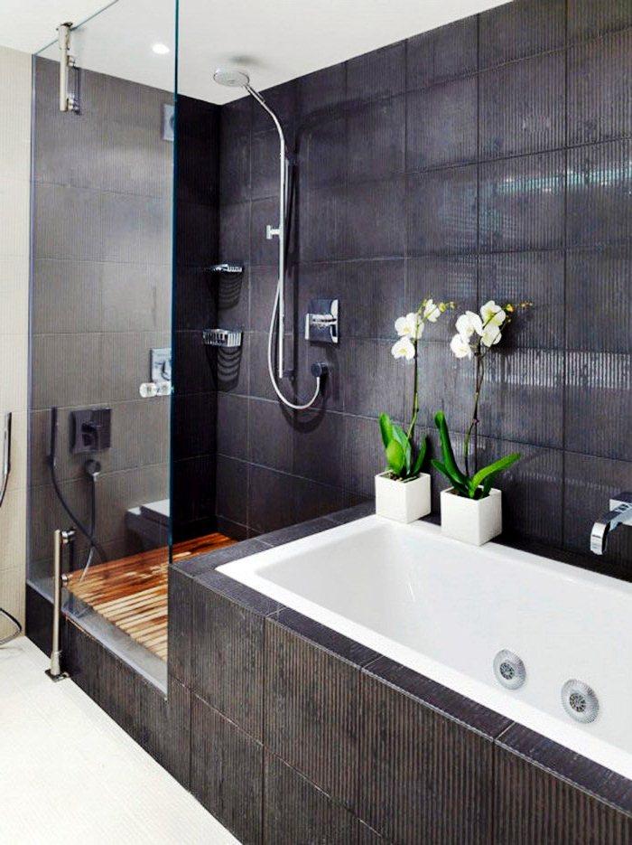 Черный дизайн ванных комнат ванная комната обшитая рейкой