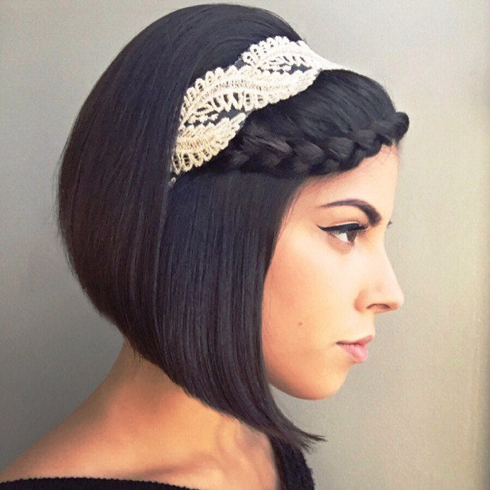 Geometric bean with a braid and hoop Best Wedding Hairstyles for Short Hair