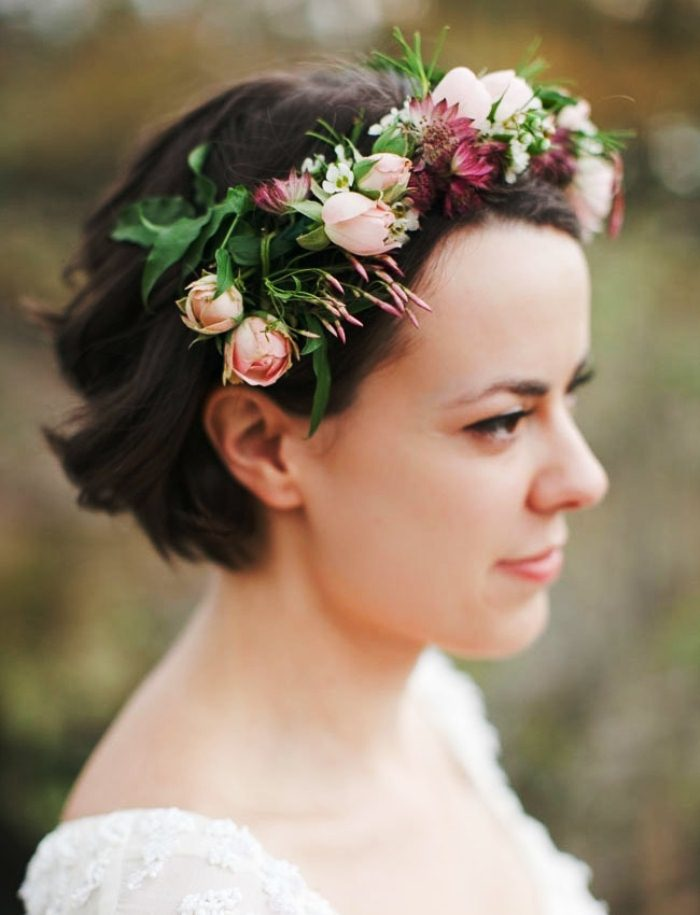 Crown of flowers for short hair Best Wedding Hairstyles for Short Hair