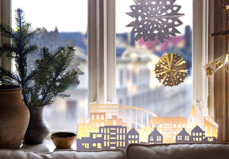 -окна-13 Украшения на окна к Новому году: 13 идей для праздничного настроения